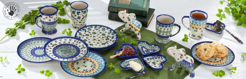 Clover Polish Pottery | St. Patrick\'s Day Polish Pottery | Uno Alla ...