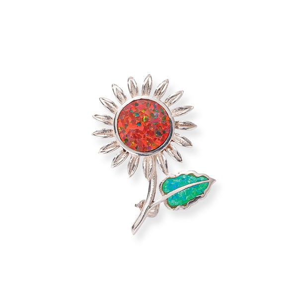 image of Leon Nussbaum's Mexican Fire Opal Sunflower Brooch with sku:WN9956029