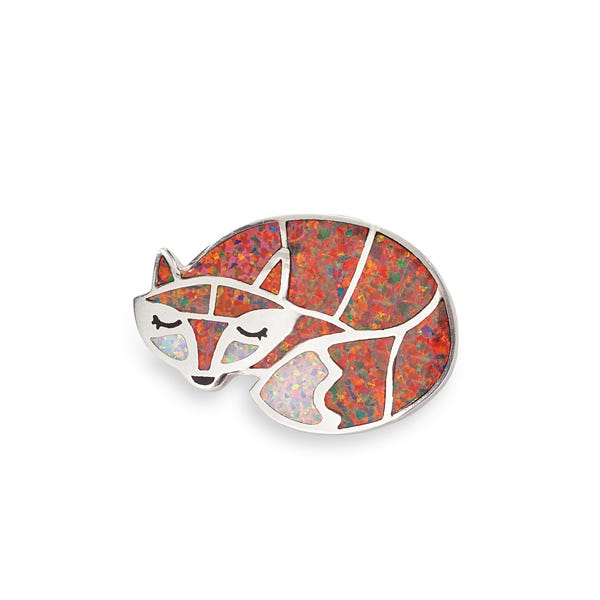 image of Leon Nussbaum's Mexican Fire Opal Fox Brooch with sku:WN9A08010