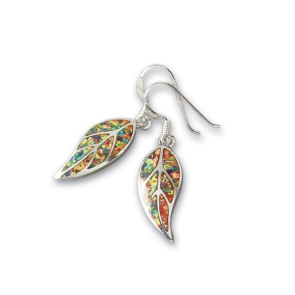 image of Leon Nussbaum's Mexican Fire Opal & Sterling Silver Leaf Earrings with sku:WU7309032
