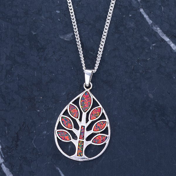 image of Leon Nussbaum's Mexican Fire Opal Tree Pendant Necklace with sku:WR1904056