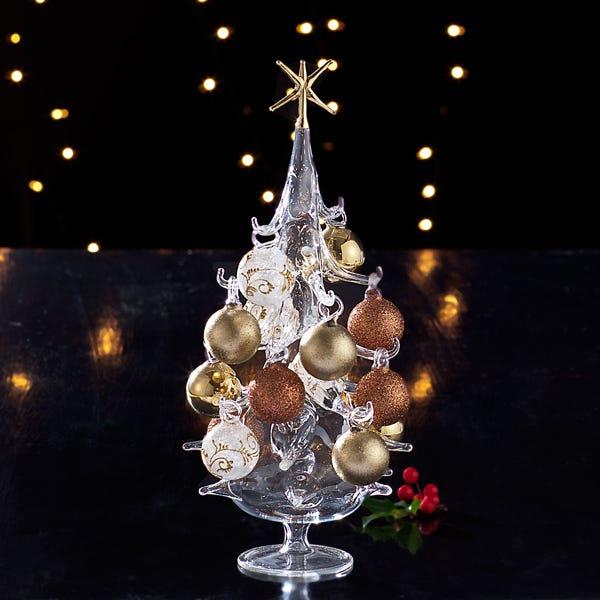 Venetian Glass Hand Blown Tree With Bronze Gold Ornaments Uno Alla Volta