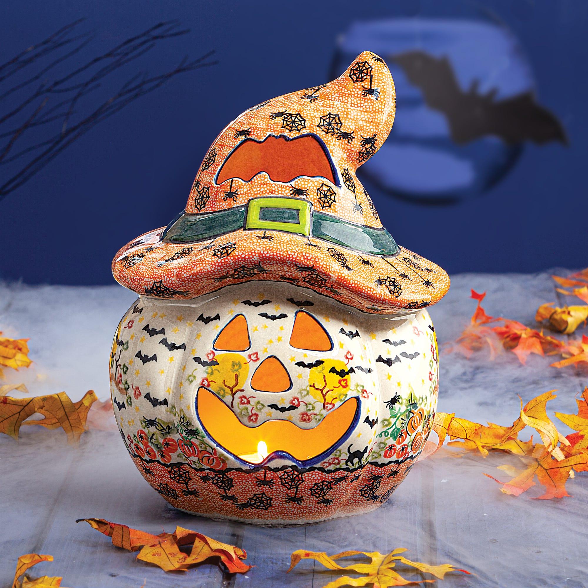 Polish Pottery Halloween Jack O Lantern Luminary Uno Alla Volta